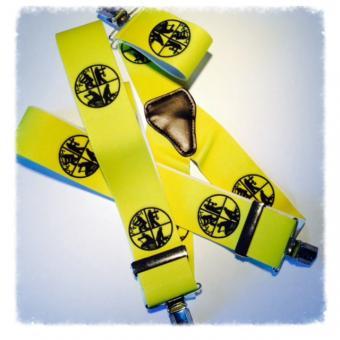 Hosenträger 3 Clip neon gelb